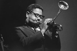 Jazz trumpeter Dizzy Gillespie is seen performing at the Newport Jazz Festival in Rhode Island, June 30, 1967.  (AP Photo/Frank C. Curtin)