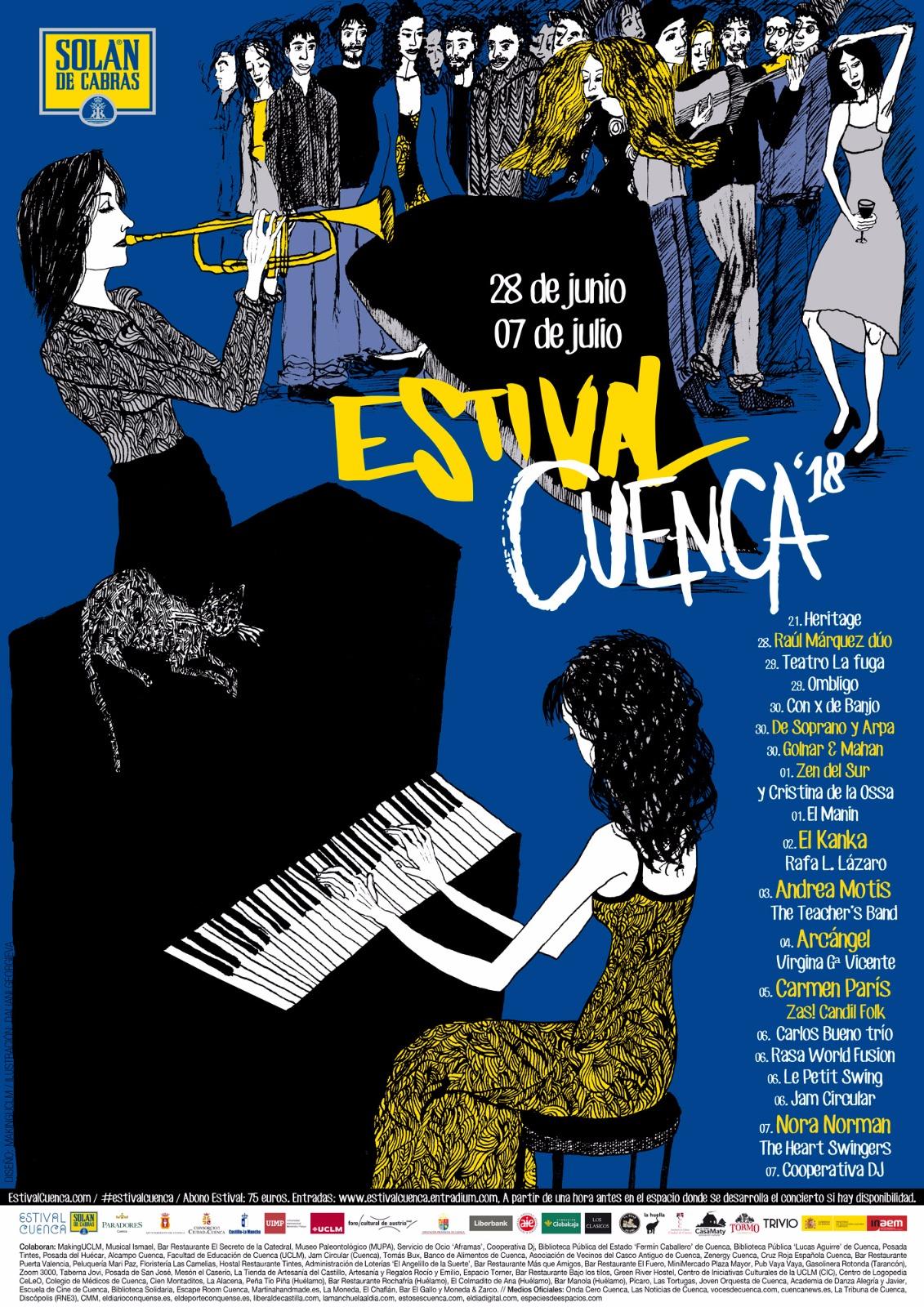 Pinceladas internacionales ilustran el cartel de Estival Cuenca 18