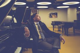 Christian Sands portrait shoot photographed by Anna Webber at Roosevelt Hotel and Steinway & Sons, NY, NY