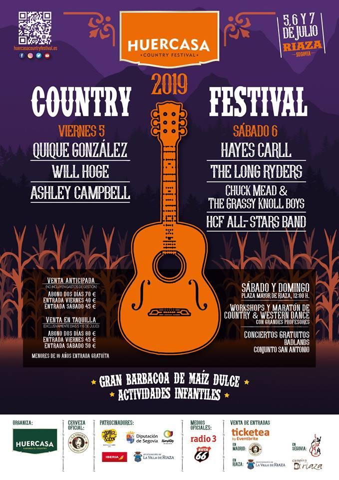 Quique González, Hayes Carll y Ashley Campbell entre los participantes en Huercasa Country Festival