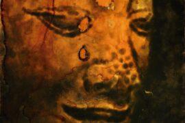 Jiri Dokoupil. Buda con agujeros. Humo de vela sobre madera. 46x38 cm. 1996. Colección TEA._ (002)